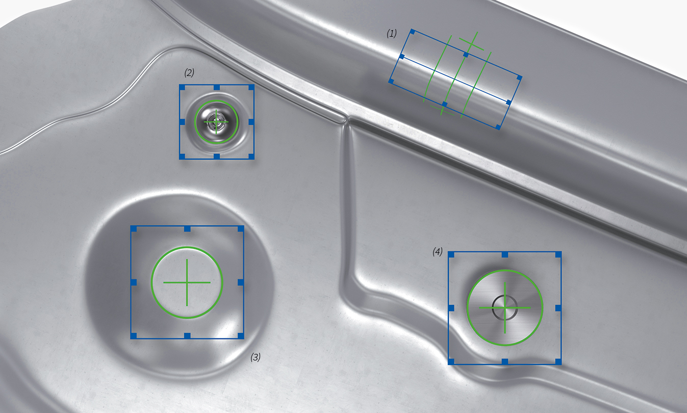 Examples of features: (1) Bending edge, (2) rivet, (3) surface point, (4) T pin